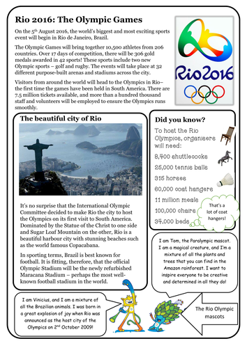 Reading Comprehension Package Rio Olympics 2016 By