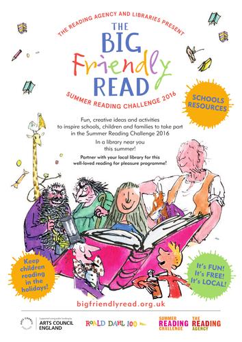 The Big Friendly Read, Summer Reading Challenge 2016 . Celebrating Roald Dahl 100