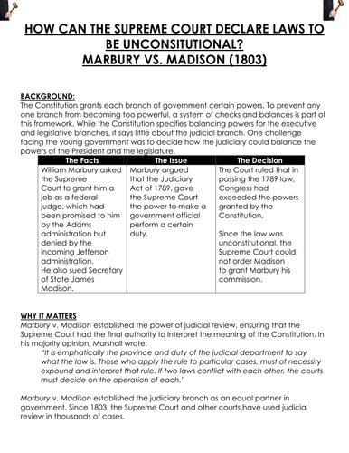 Marbury v. Madison Essay Sample