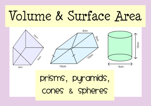 Volume Surface Area Prisms Pyramids Cones Spheres by – Volume of Spheres Worksheet