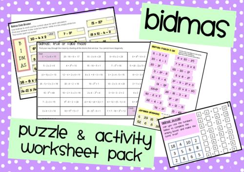 Bidmas Activities & Puzzles