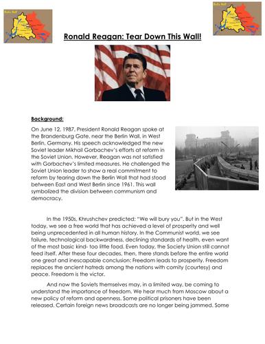 Cold War: Berlin Wall Ronald Reagan: Tear Down This Wall ...