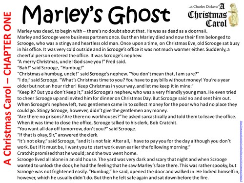 Charles Dickens' A Christmas Carol in chapter summaries by lmoore1986 | Teaching Resources