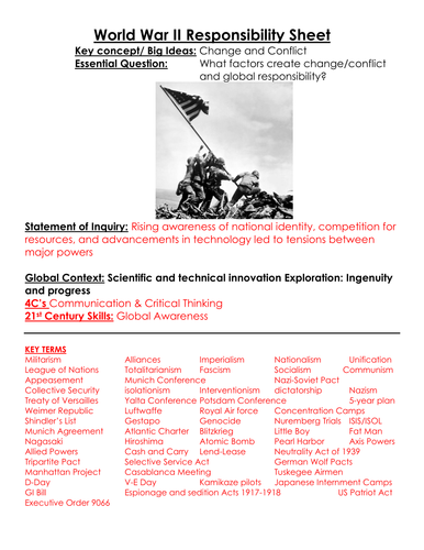 World war ii responsibility sheet key terms people guiding and world war ii responsibility sheet key terms people guiding and essential questions for wwii unit by linni0011 teaching resources tes publicscrutiny Choice Image