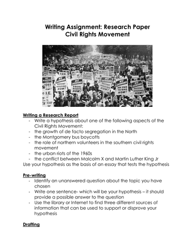 the civil rights movement final paper The civil rights movement history 498 fall 2013 term paper: 30% of final grade—including grades on rough drafts and on the research presentation at the.