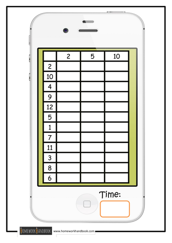 Times Table Speed Grids
