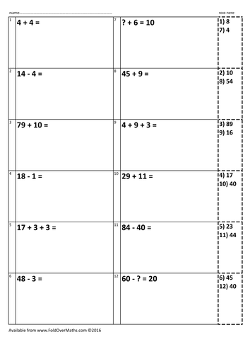 10x KS1 2016 SATs arithmetic questions and answers