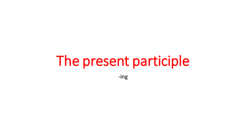 The present participle in French