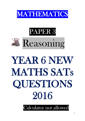 New Sats 2016 Paper 3 Reasoning - bundle of 5 assessments