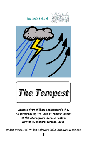 The Tempest (2013): Simple script with symbols to support pupils reading adaptation of the play