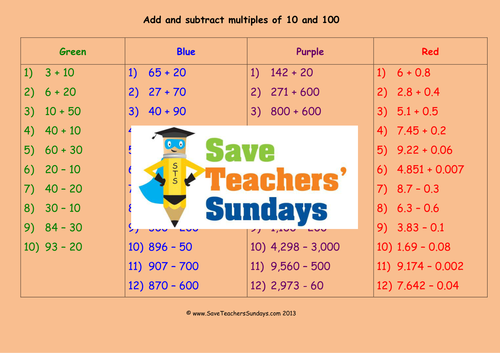 Adding And Subtracting Multiples Of 10 And 100 Worksheets