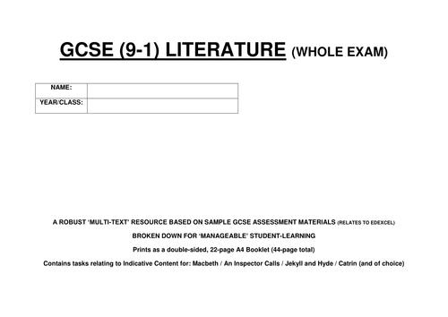 GCSE LITERATURE - WHOLE EXAM PRACTICE RESOURCE