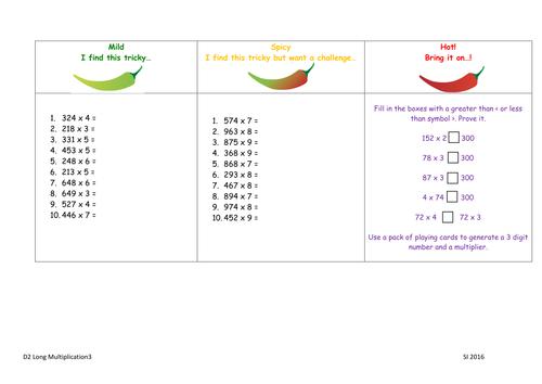 Year 4 Multiplication 2 3 Digit X 1 Digit 3 Levels Of