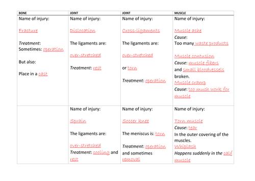 Sports Injuries Biology / PE