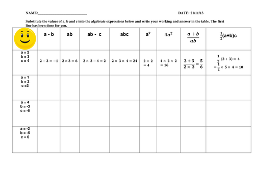 Algebra Worksheets: Simplifying, collecting like terms, substitution, expanding, factorising, solve