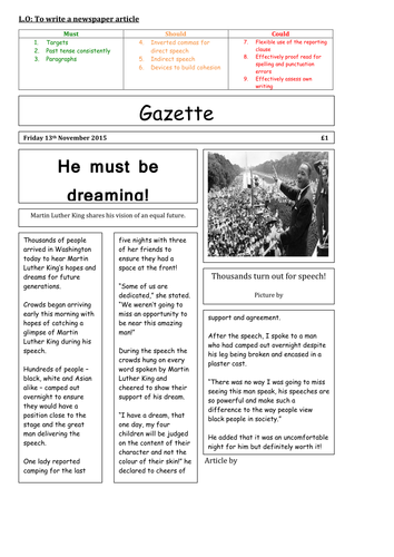 English Big Write Martin Luther King Planning and Resources