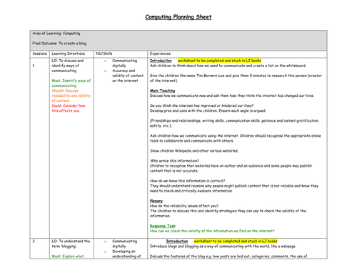 Computing Blogging Planning and Worksheets