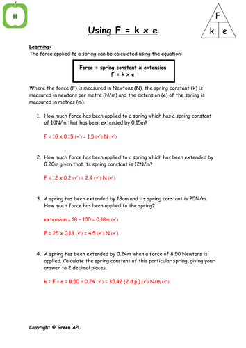 F = ke calculations by greenAPL - Teaching Resources - Tes
