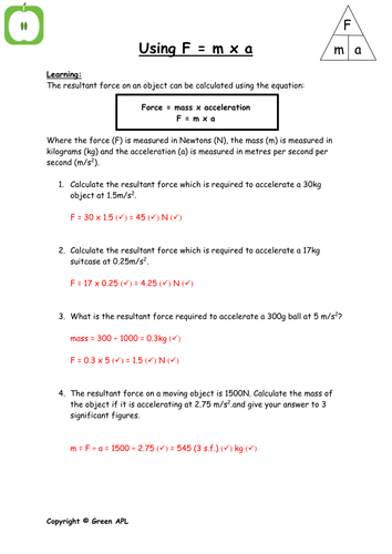 Physics: F = ma calculations by greenAPL - Teaching Resources - TES