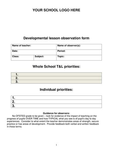 Developmental lesson observation form