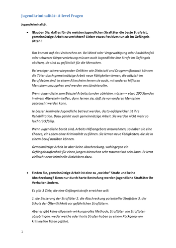A2 German Speaking Test Questions and Answers - Jugendkriminalität