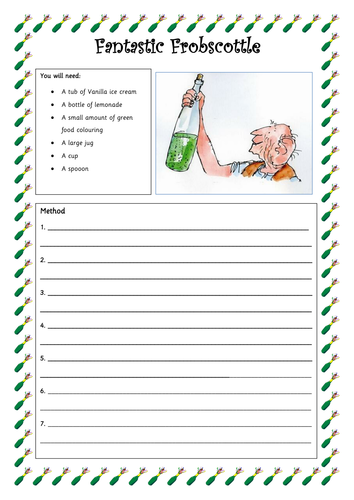 Printables Bfg Worksheets miss brittons shop teaching resources tes bfg frobscottle recipe