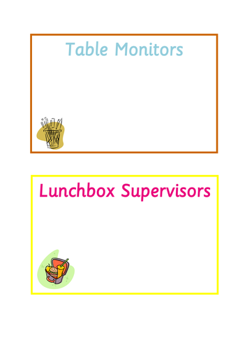 Classroom Monitor Signs