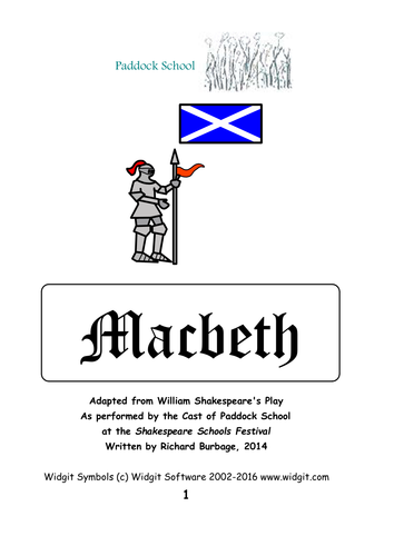 Macbeth (2014): Simple script with Widgit symbols for actors with learning difficulties