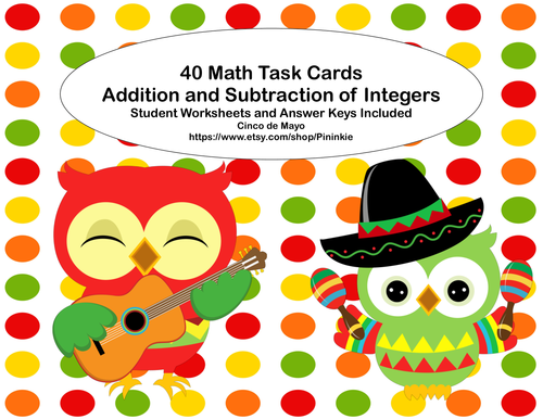 Task Cards Addition and Subtraction of Integers- Cinco de Mayo ...