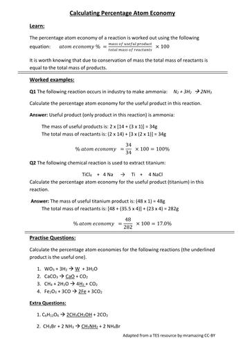 Chemistry: Atom Economy Calculations