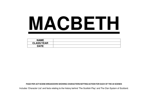 MACBETH - APRIL 2016 REVISED - A STRONG LEARNING/REVISION TOOL