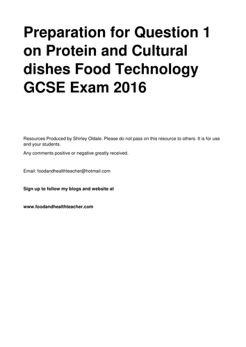Cultural design ideas and sample answers Food Technology GCSE 2016