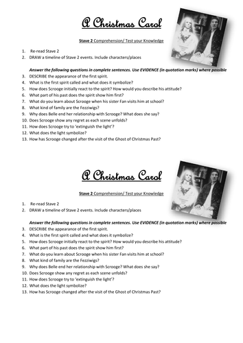 A Christmas Carol STAVE 2 Comprehension/Test your knowledge Worksheet