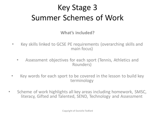 Key Stage 3 (Yr 7- 9) Tennis, Rounders and Athletics Schemes of Work