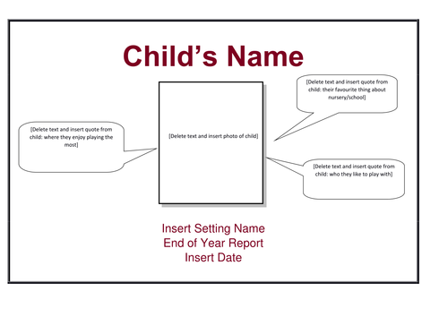 End of Year Report - Reception Class (Includes CoL and ELG statements for easy reference)