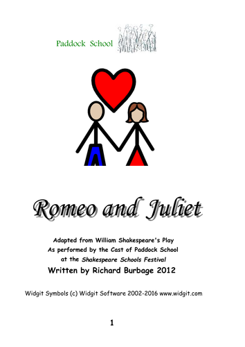 Romeo and Juliet (2012): Simple script with Widgit symbols for actors with learning difficulties