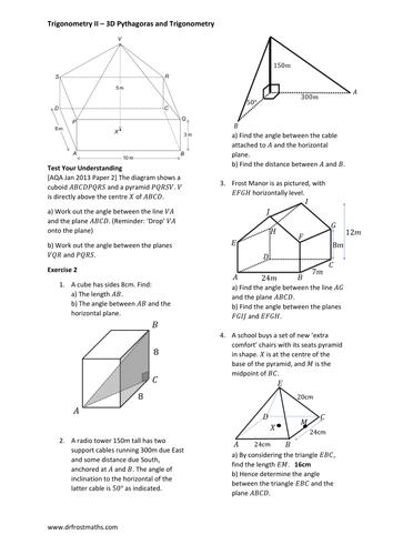 Igcse Further Maths 3d Trigonometry Pythagoras And Sinecosine