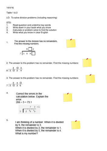Year 5 Division Problem Solving Sheet by SomeTeacher - Teaching ...