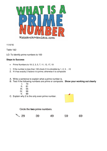 Year 5 Prime Numbers Drill Sheet by SomeTeacher | Teaching Resources