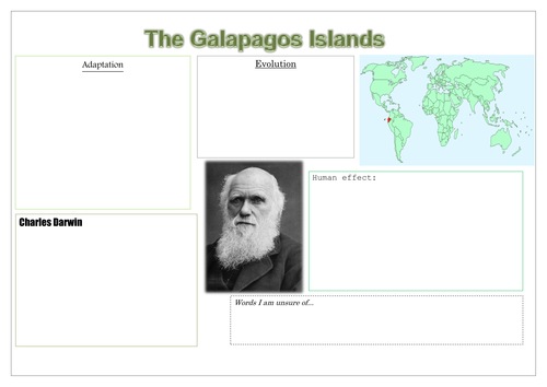New Key Stage 2 Science Curriculum Evolution Research sheet based  on The Galapagos Islands