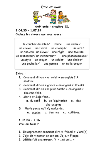French Teaching Resources DVD/ Film Worksheet: School: Être et Avoir ...
