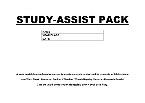 GCSE LITERATURE STUDY-ASSIST PACK - Any Novel or Play