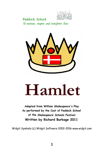 Hamlet (2011): Simple script with Widgit symbols for actors with learning difficulties