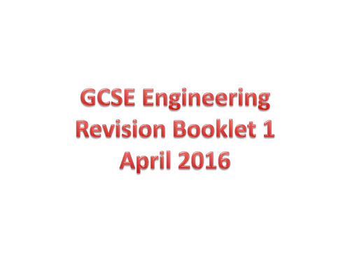 2016 AQA GCSE Engineering revision starting booklet