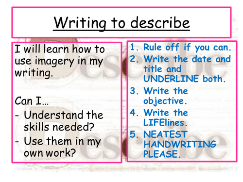 Writing to describe - using imagery