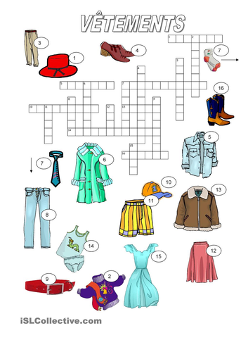 Description in French Key stage 2( clothes and colours)