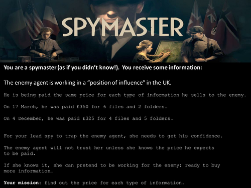 Spymaster | Piemaster - Simultaneous Equations in the World of Espionage