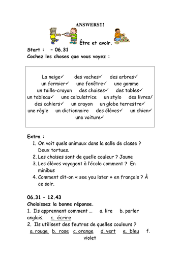 French Teaching Resources Short Worksheet Classroom Vocabulary