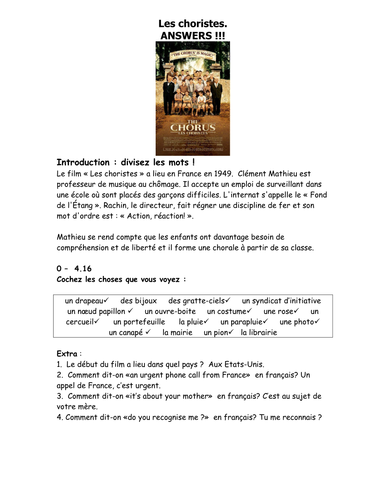 French Teaching Resources Film Worksheet Les Choristes By