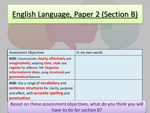 Aqa language paper 2 section b by tabbym teaching for English home magazine customer service